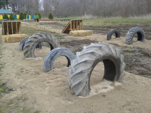 Outdoor obstacle course attraction at Sloan's Village